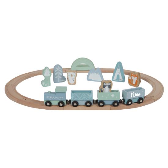 Holz Eisenbahn mit Schienen blau